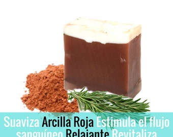 Red clay and rosemary artisan soap