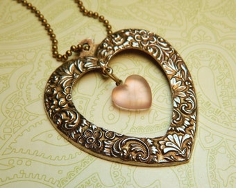 Heart Necklace, Extra Large Heart, Love Jewelry, Heart Jewelry, Love Necklace, Heart Pendant, Pink Frosted Heart, Ornate Embossed, Big Love