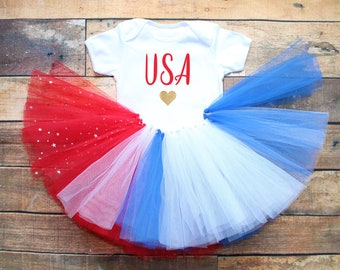 4th July USA Girl's Tutu Outfit Red White Blue Independence Day