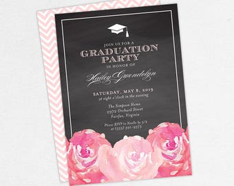 Graduation Invitation, Graduation Announcement, Printable Invitation, Invitation PDF, DIY, Printed, Watercolor Flowers, Chalk, Pink, Hailey