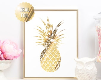 Gold Pineapple Print - Tropical Pineapple Decor - Gold Foil Prints - Glam Bedroom Decor Home Decor - Gold Foil Pineapple Wall Art