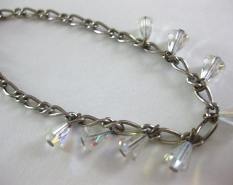Chain Link Bracelet Glass Aurora Borealis Teardrop Beads Vintage