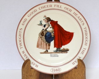 Norman Rockwell Collectible Plate Hallmark 1980 Christmas PanchosPorch