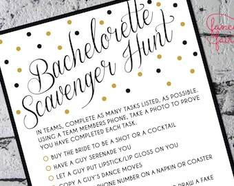 Gold bachelorette game template printable scavenger hunt game