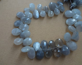 25 pcs 9 to 12 mm Grey Moonstone Briolette Faceted Pears  strand-AAA Quality