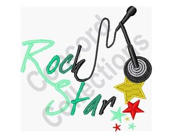 Rock Star - Machine Embroidery Design, Microphone