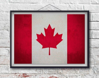 Canadian Flag Print, Canadian Poster,  Canadian Flag Art, Canadian Art Print, Wall Decor, World Poster, Home Decor [PXCF004-P]