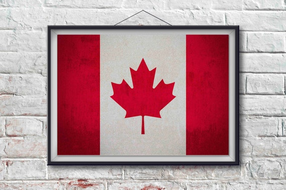 Canadian Flag Print Canadian Poster Canadian Flag Art Canadian Art Print Wall Decor World Poster Home Decor Pxcf004 P