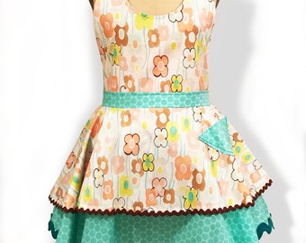 Floral Print Woman's Apron, Woman's Floral Print Two Layer Apron with Green Polka dots