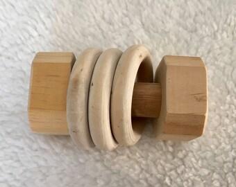 Wood baby rattle