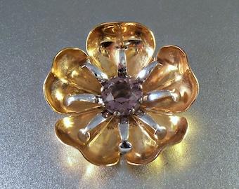 Amethyst Rose Gold Filled Brooch, Flower Design, 2 Tone, A&Z 12K GF