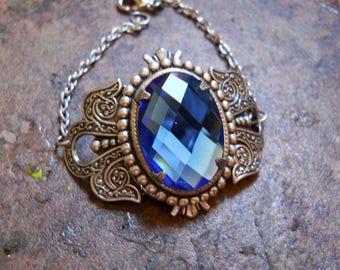 Blue Crystal Jewel Victorian Cuff Bracelet, Silver Cuff Bracelet, Blue and Sliver Cuff Bracelet