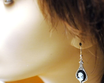 Victorian Cameo Earrings   ---   Black And White Cameo Earrings On Antiqued Silver