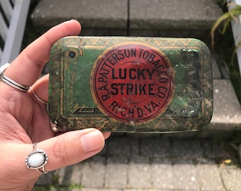 Antique Green Lucky Strike Tin R.A. Patterson Tobacco 1930s