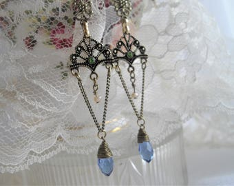 Chandelier Dangle Earring Titanic Victorian Inspired Earrings Feminine Gold Plated French Ear Wires Gold Blue Hand Assembled by handcraftusa