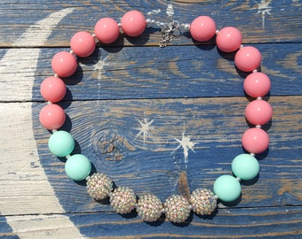 Mint, Coral, & Gold chunky necklace