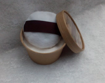 Gents Cedarwood or Sandalwood Body Powder and Mini Pouf/Puff. Natural Deodorant. No Talc or Cornflour. Father's Day. Vegan.