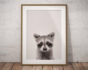 Woodland Raccoon Art, Woodland Nursery Decor, Nursery Raccoon Art Print, Forest Raccoon Printable, Baby Raccoon Art, Kids Room Printable Art