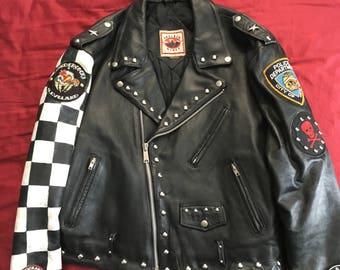 VTG Motorcycle Jacket Rocker Jacket Boulder Ridge Rockabilly Custom Painted Studs