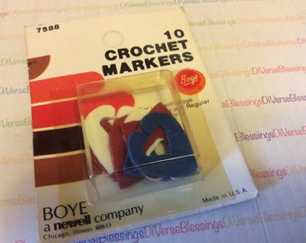 Boye, Crochet Markers, Made in USA, New Old Stock, Original Package, Package of 10, No 7588