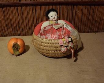 Vintage Japanese Gofun Doll In Basket Pin Cushion