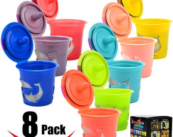 8 Reusable Keurig Single K Cup 2.0 , Solo Filter Pod Coffee Stainless Mesh , 8 Rainbow Color