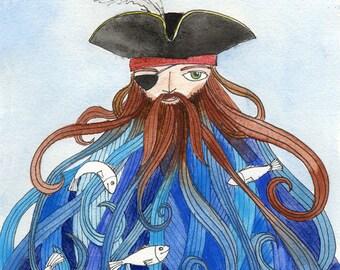 Pirate Illustration - Art Print, Watercolor, tangled Beard, Captain of the Sea, King of Fish, 8x10