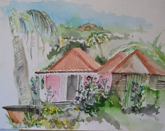 "Vintage Watercolor, Hawaiian Island Colonial Home & Tropical Landscape, Original 10"" x 14"", Unsigned"