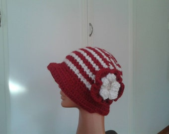 hand crocheted red hat.red beanie with flower.