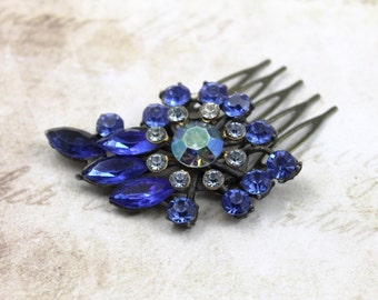Vintage Jeweled Bridal Hair Comb with Shades of Blue Crystals in Royal, Sapphire, Aurora Borealis - Blue Wedding Colors - by Boutique Bijou