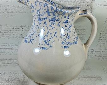 Vintage Antique blue  cream spongeware wash pitcher vintage Robinson Ransbottom stoneware 60s sponged