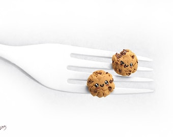 Kawaii Chocolate Chip Cookie Earrings, Miniature Cookie Jewelry, Chocolate Cookie Studs, Biscuit Earrings, Kawaii Jewelry, Foodie gift