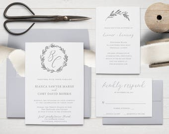 Hand-drawn Wreath Wedding Invitation Suite
