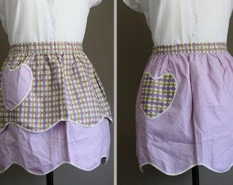 Vintage Reversible Half Apron / Heart-Shaped Pocket / Pockets / Mauve / Purple