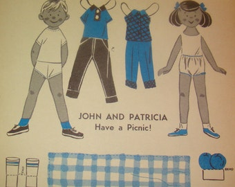 Vintage 1930's/40's Paper Doll (John & Patricia Have A Picnic)