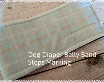 Dog Diaper Belly Band, Plaid When Skies are Grey Fabric, Stop Marking, Personalized, Eco-Friendly