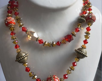 European Red and Gold Necklace