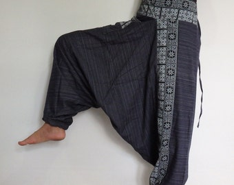 Navy Blue Rough cotton harem pants in a natural.