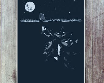 Orca Whale art print in Indigo/teal - Curious night time Killer Whales with tiny boat. Illustrated sea themed wall art. Nautical poster