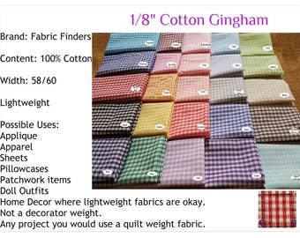"""1/8"""" Gingham 100% Cotton Black, Sprout Royal Blue Red Brown Pink Green Lime Yellow FQ Half Yard Quarter Yard HTFFGG"""