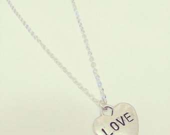 Hand Stamped LOVE Heart Charm Necklace