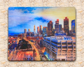 Boston skylines at dusk on tempered glass cutting board