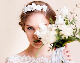 Bridal Crown - Floral Bridal Head Piece - Silk Flower Crown - Wedding Headpiece - Wedding Hair Piece