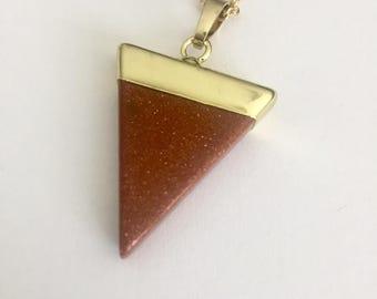 Triangle goldstone necklace