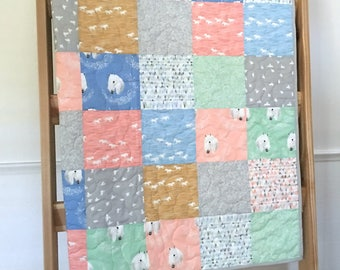 Baby girl quilt, crib quilt, horses, wild horses, coral-mint-blue-gold