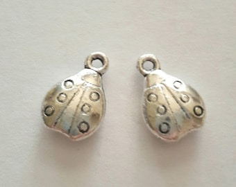 2 antique silver metal Ladybug charms