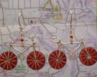 Bike Enameled Earrings - Custom Colors - Made to Order