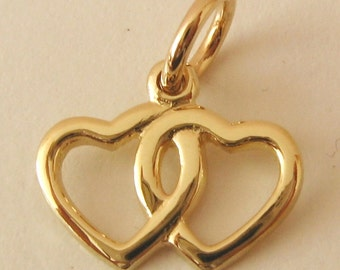 Genuine SOLID 9K 9ct YELLOW GOLD Double Love Hearts Valentine charm/pendant