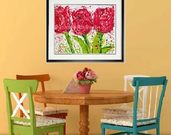 Flower print, Tulip print, Tulip wall art, Spring Flowers, garden room art, Garden Flowers,  Framed garden art, honeycomb, by Johno Prascak