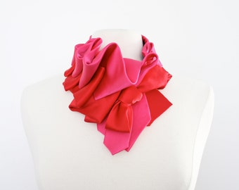 Aster Necktie Scarf in Color Block - Hot Pink + Red